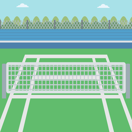 tennis court: Background of tennis court. Outdoor tennis court vector flat design illustration. A tennis court in an arena. Sport concept. Square layout.