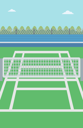 tennis court: Background of tennis court. Outdoor tennis court vector flat design illustration. A tennis court in an arena. Sport concept. Vertical layout. Illustration