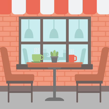 patio furniture: Background of street cafe. Cafe on the street with table and chairs vector flat design illustration. Outdoor cafe. Square layout. Illustration