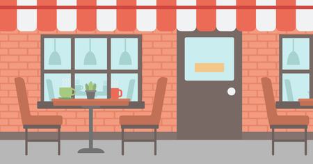 patio furniture: Background of street cafe. Cafe on the street with table and chairs vector flat design illustration. Outdoor cafe. Horizontla layout. Illustration