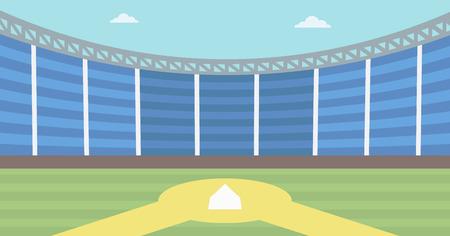 Antecedentes de estadio de béisbol. campo de béisbol vector de diseño plano ilustración. Diamante de beisbol. Concepto de deporte. Horizontla diseño. Ilustración de vector
