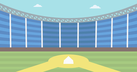 baseball diamond: Background of baseball stadium. Baseball field vector flat design illustration. Baseball diamond. Sport concept. Horizontla layout.