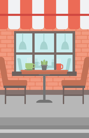 patio furniture: Background of street cafe. Cafe on the street with table and chairs vector flat design illustration. Outdoor cafe. Vertical layout. Illustration