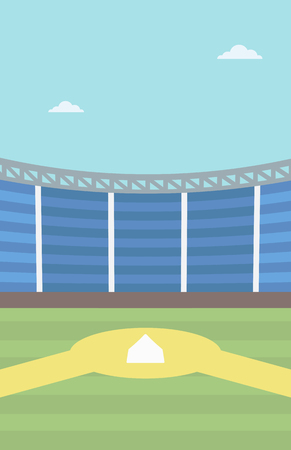 baseball diamond: Background of baseball stadium. Baseball field vector flat design illustration. Baseball diamond. Sport concept. Vertical layout. Illustration