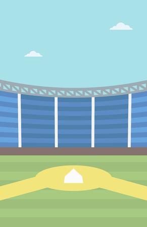 baseball diamond: Background of baseball stadium. Baseball field vector flat design illustration. Baseball diamond. Sport concept. Vertical layout. Illustration