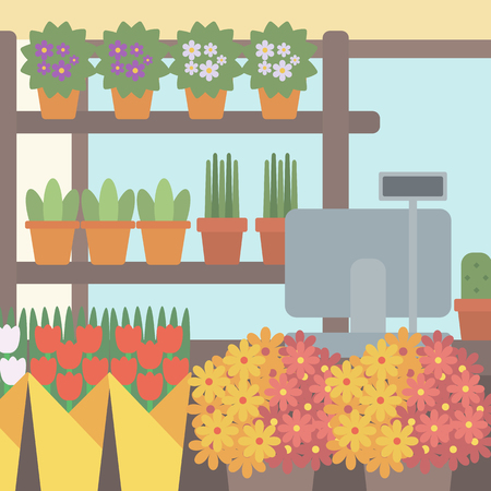 cash box: Background of flower shop. Counter with cash box in flower shop vector flat design illustration. Square layout.