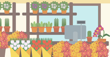 お花屋さんの背景。フラワー ショップ ベクトル フラット デザイン イラストの現金ボックスとカウンターします。水平方向のレイアウト。