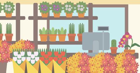 Contexte de magasin de fleurs. Compteur avec caisse dans la boutique vecteur fleurs design plat illustration. Présentation horizontale. Vecteurs