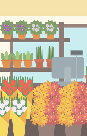 cash box: Background of flower shop. Counter with cash box in flower shop vector flat design illustration. Vertical layout.