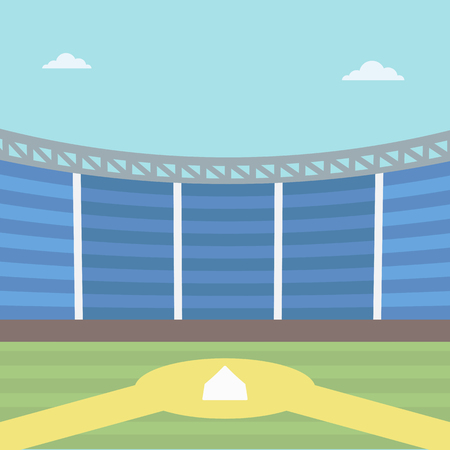 baseball diamond: Background of baseball stadium. Baseball field vector flat design illustration. Baseball diamond. Sport concept. Square layout. Illustration