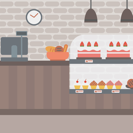 Background of bakery. Bakery shop interior. Bakery counter full of bread and pastries vector flat design illustration. Square layout. Ilustração