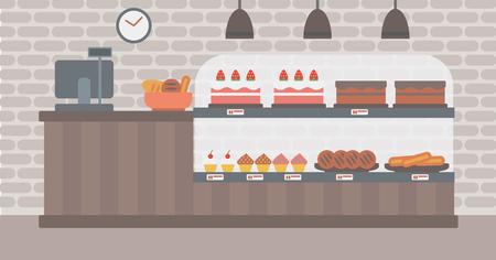 빵집의 배경입니다. 베이커리 숍 인테리어. 빵과 파이 벡터 평면 디자인 일러스트 레이 션의 전체 베이커리 카운터. 수평 레이아웃입니다. 일러스트