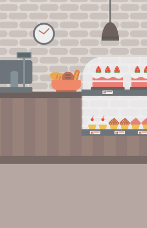 bakery products: Background of bakery. Bakery shop interior. Bakery counter full of bread and pastries vector flat design illustration. Vertical layout. Illustration