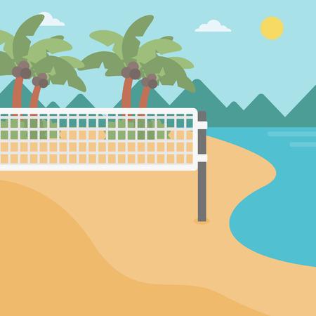 Hintergrund der Beachvolleyballplatz an der Küste. Volleyballnetz am Strand. Sport-Konzept. Platz Layout. Vektorgrafik