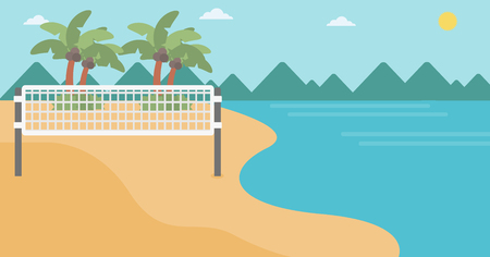 volleyball net: Background of beach volleyball court at the seashore. Volleyball net on the beach. Sport concept. Horizontal layout.