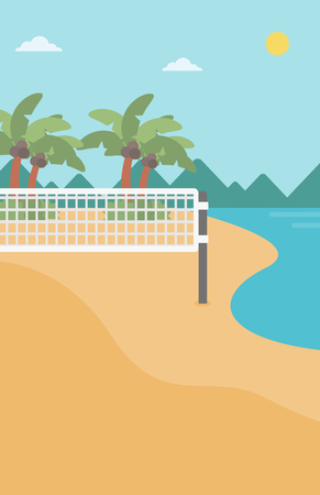volleyball net: Background of beach volleyball court at the seashore. Volleyball net on the beach. Sport concept. Vertical layout.