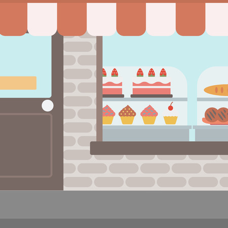 window display: Background of bakery. Display window of bakery shop with variety of pastries. Bakery showcase full of bread and cakes vector flat design illustration. Square layout.