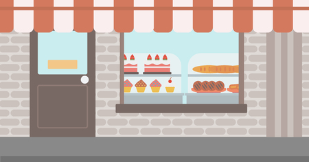 window display: Background of bakery. Display window of bakery shop with variety of pastries. Bakery showcase full of bread and cakes vector flat design illustration. Horizontal layout.