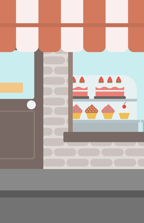 window display: Background of bakery. Display window of bakery shop with variety of pastries. Bakery showcase full of bread and cakes vector flat design illustration. Vertical layout. Illustration