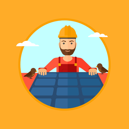 solar panel roof: A hipster man with the beard installing solar panels on roof. Technician in inuform and hard hat checking solar panels on roof. Vector flat design illustration in the circle isolated on background. Illustration