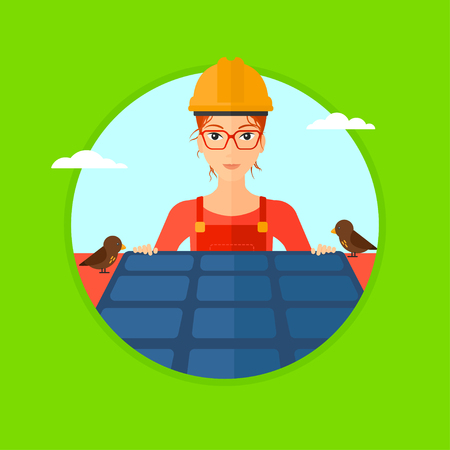 energy work: A woman installing solar panels on roof. Technician in inuform and hard hat checking solar panels on roof. Vector flat design illustration in the circle isolated on background.