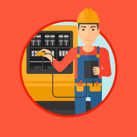 switchboard: A man in helmet measuring the voltage output. Young electrician with electrical equipment standing in front of switchboard. Vector flat design illustration in the circle isolated on background.