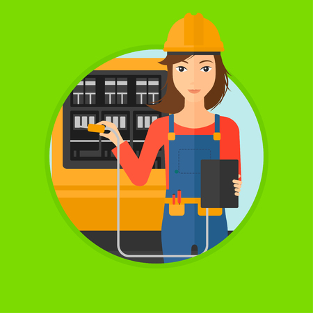 switchboard: A woman in helmet measuring the voltage output. Young electrician with electrical equipment standing in front of switchboard. Vector flat design illustration in the circle isolated on background.
