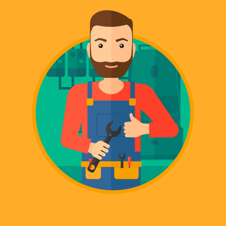 boiler room: A hipster repairman with a spanner in hand. A repairman giving thumb up. A repairman at domestic household boiler room. Vector flat design illustration in the circle isolated on background.