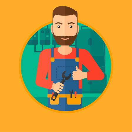 Hipster mechanik z kluczem w ręku. Mechanik daje kciuk w górę. Repairman w kotłowni gospodarstwa domowego. Wektorowa płaska projekt ilustracja w okręgu odizolowywającym na tle.