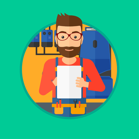 boiler: A hipster plumber with the beard making some notes in his clipboard. Plumber inspecting heating system in boiler room. Vector flat design illustration in the circle isolated on background.