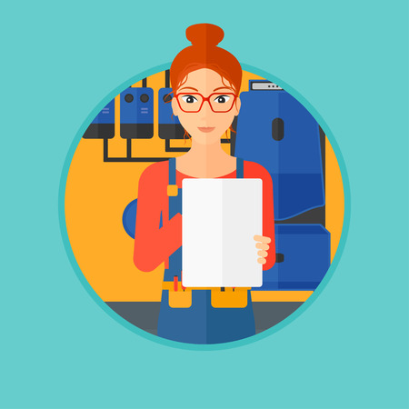 boiler room: A female plumber in overalls making some notes in her clipboard. Plumber inspecting heating system in boiler room. Vector flat design illustration in the circle isolated on background.