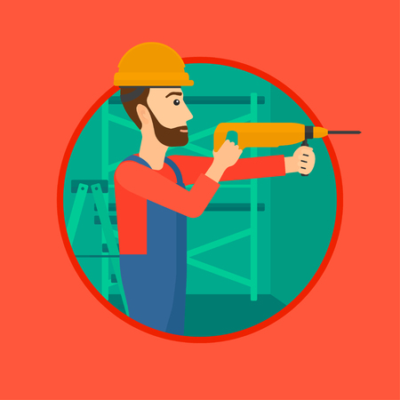 A hipster worker with the beard drilling a hole in the wall. A man in overalls and hard hat working with hammer drill. Vector flat design illustration in the circle isolated on background. Иллюстрация