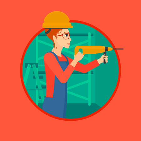 A female worker drilling a hole in the wall. A woman in overalls and hard hat working with hammer drill indoors. Vector flat design illustration in the circle isolated on background. Иллюстрация