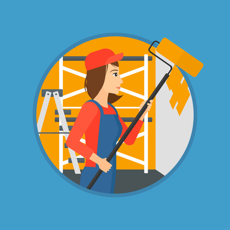 A female painter in overalls with a paint roller in hands. Painter painting walls with a paint roller in an apartment. Vector flat design illustration in the circle isolated on background.