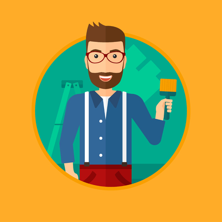 house painter: A hipster painter with the beard holding a paint brush. Painter painting walls with paint brush at home. House renovation concept. Vector flat design illustration in the circle isolated on background. Illustration
