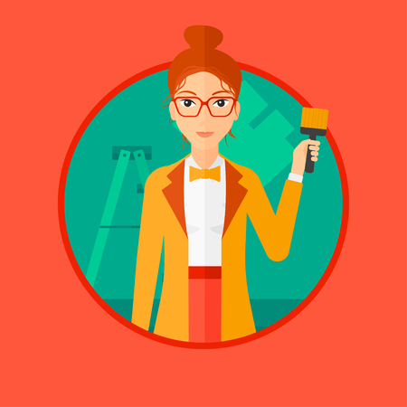 house painter: A female painter holding a paint brush. Painter painting walls with paint brush at home. House renovation concept. Vector flat design illustration in the circle isolated on background. Illustration