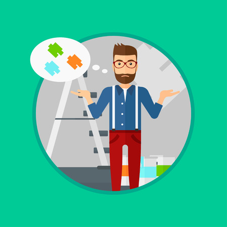 choosing: A doubtful hipster man with the beard choosing color for walls in apartment. Man with spread arms choosing a color of paint. Vector flat design illustration in the circle isolated on background. Illustration