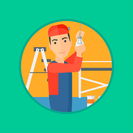 twisting: An electrician twisting a light bulb. An electrician installing light in an apartment. Electrician changing light bulb. Vector flat design illustration in the circle isolated on background.