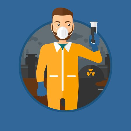 testtube: A hipster man with the beard in radiation protective suit. Man in radiation protective suit holding a test-tube with black liquid. Vector flat design illustration in the circle isolated on background.