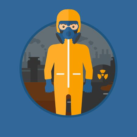 A man wearing gas mask and radiation protective suit. Man in radiation protective suit on a background of nuclear power plant. Vector flat design illustration in the circle isolated on background. Illustration