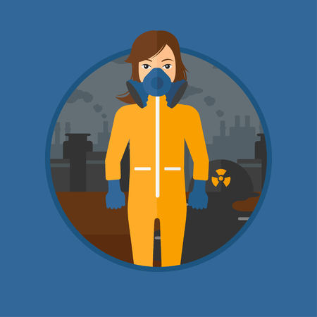 protective suit: A woman wearing gas mask and radiation protective suit. Woman in radiation protective suit on a background of nuclear power plant. Vector flat design illustration in the circle isolated on background.