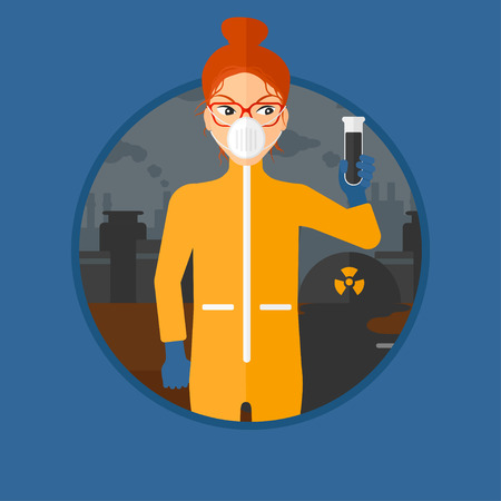 protective suit: A woman in radiation protective suit holding a test-tube with black liquid on a background of nuclear power plant. Vector flat design illustration in the circle isolated on background.