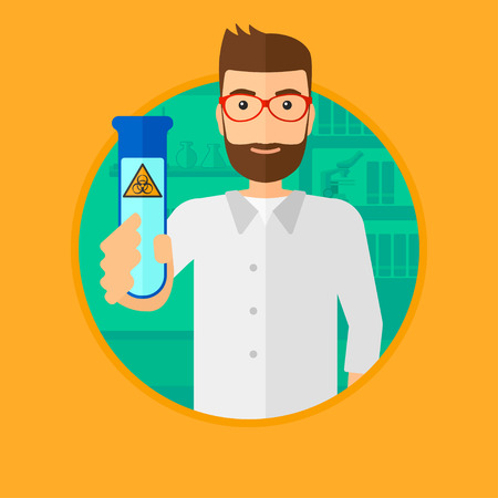 biohazard sign: A scientist with the beard holding a test tube with biohazard sign. Scientist examining a test tube in a chemical laboratory. Vector flat design illustration in the circle isolated on background.