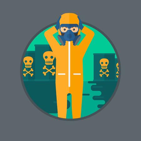 protective suit: Man in mask and radiation protective suit clutching head while standing in polluted water on a background of radioactive barrel. Vector flat design illustration in the circle isolated on background.