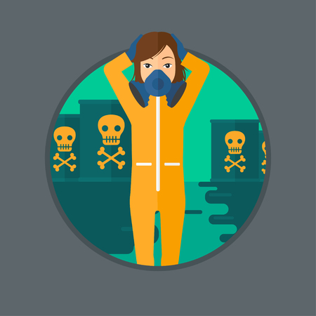 Woman in mask and radiation protective suit clutching head while standing in polluted water on a background of radioactive barrel. Vector flat design illustration in the circle isolated on background. Illustration
