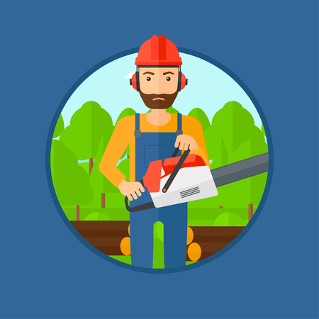 woodcutter: A hipster woodcutter with the beard holding a chainsaw. Woodcutter in workwear, hard hat and headphones at the forest with logs. Vector flat design illustration in the circle isolated on background.