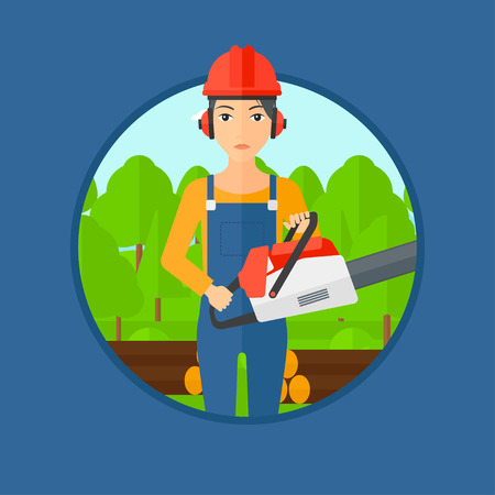 woodcutter: A female woodcutter holding a chainsaw. Woodcutter in workwear, hard hat and headphones at the forest with logs. Vector flat design illustration in the circle isolated on background.