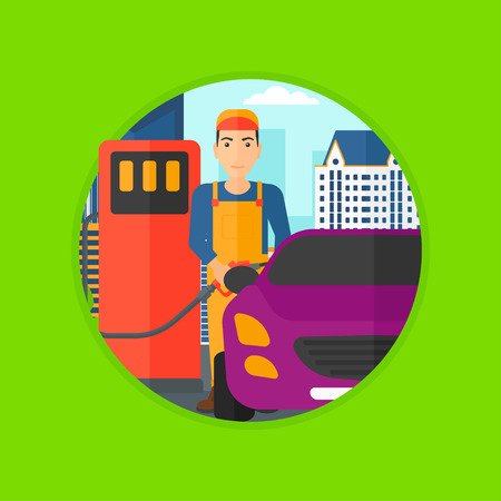 litre: A worker filling up fuel into the car. Worker in workwear at the gas station. Gas station worker refueling a car. Vector flat design illustration in the circle isolated on background. Illustration