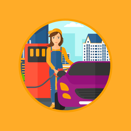 filling station: A female worker filling up fuel into the car. Worker in workwear at the gas station. Gas station worker refueling a car. Vector flat design illustration in the circle isolated on background.