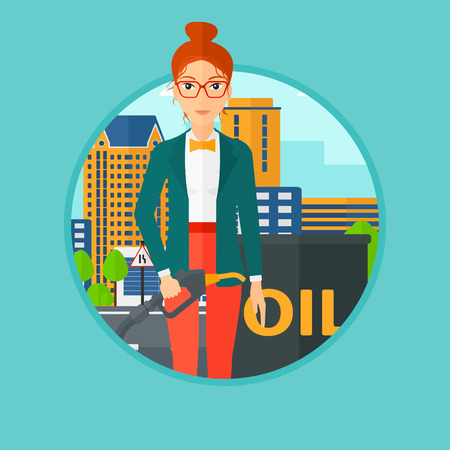 refilling: A woman standing near oil barrel. Woman holding gas pump nozzle on a city background. Woman with gas pump and oil barrel. Vector flat design illustration in the circle isolated on background. Illustration